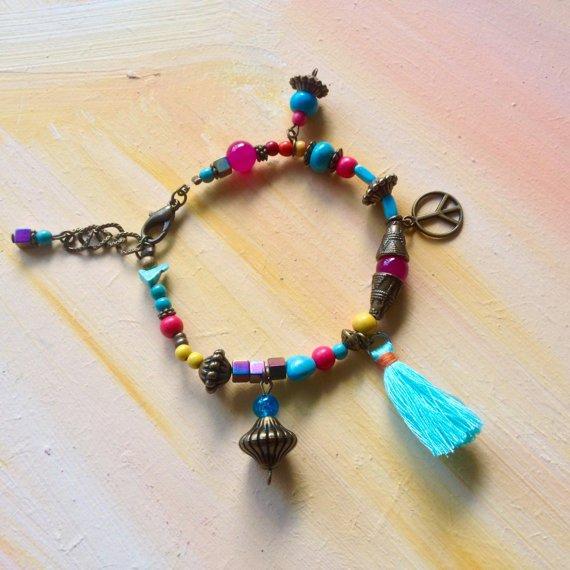 bracelet boh�me chic hippie chic turquoise et bronze