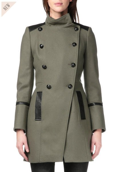 manteau laine allyo vert naf naf monshowroom tendance mode femme. Black Bedroom Furniture Sets. Home Design Ideas