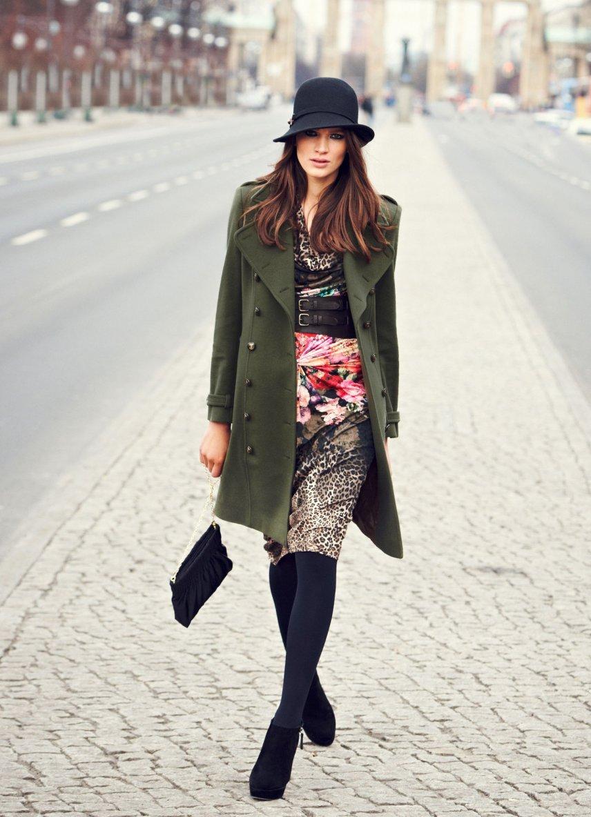 manteau en laine el gance vert olive tendance mode femme. Black Bedroom Furniture Sets. Home Design Ideas