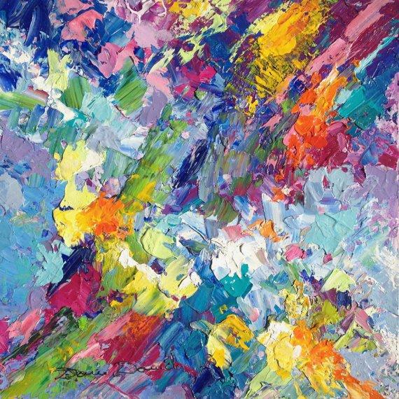 Peinture abstraite unique & Original peinture à l'huile sur les couteaux de 40 x 40 cm panneau Candy