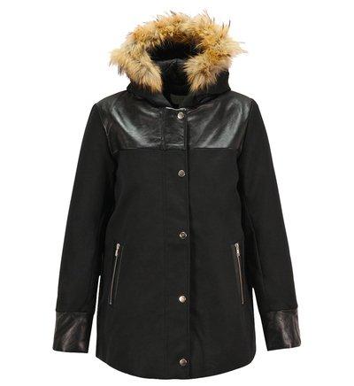 manteau marguerite sandro noir pour femme galeries lafayette bon tendance. Black Bedroom Furniture Sets. Home Design Ideas