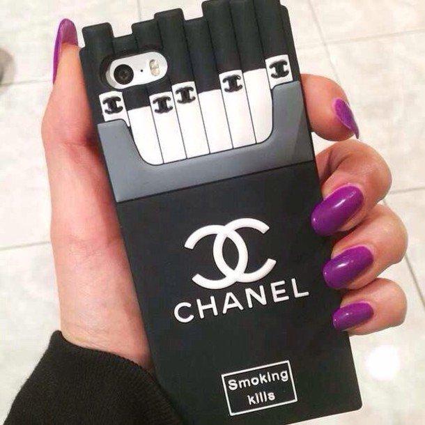 coque housse iphone 6 6plus 5s chanel cigarette style. Black Bedroom Furniture Sets. Home Design Ideas