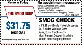 Smog Coupons - 4 Locations: Temecula, Rialto, Moreno Valley - Smog Shop - 4 smog locations