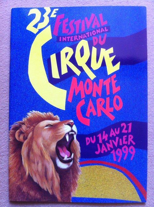 A vendre / On sale / Zu verkaufen / En venta / для продажи :  Programme 23ème Festival International du cirque de Monte-Carlo 1999 - 1