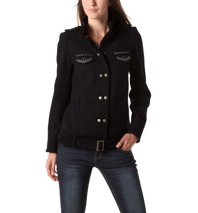 manteau femme col officier bleu nuit promod tendance mode femme. Black Bedroom Furniture Sets. Home Design Ideas
