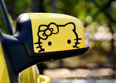 2 X AUTOCOLLANTS STICKERS POUR RÉTROVISEUR Hello Kitty NOIR EMBLÈME LOGO