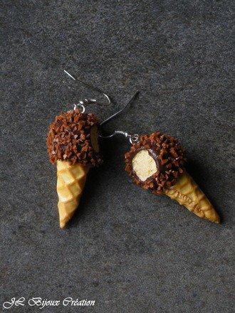 Boucle d'oreille glace croqu�e en fimo Argent 925