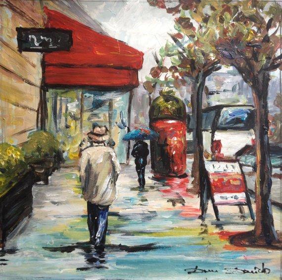 Paysage urbain peinture de pluie Paris  Peintures Peinture parapluie Dam Domido