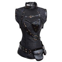 Women's Retro Goth Steel Boned Brocade Vintage Steampunk Bustiers Corsets