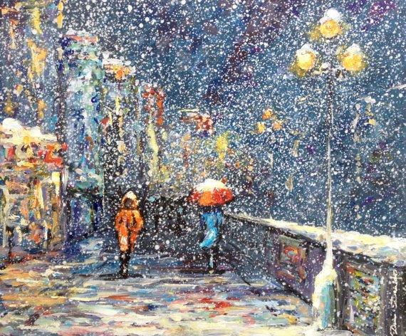 L'huile de paysage urbain original sur toile - peinture à l'huile - peinture - peinture de neige de neige : la neige dans la ville