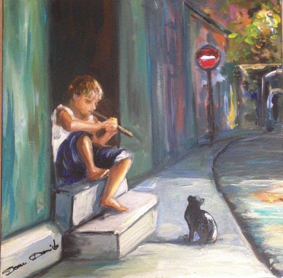 """Peinture originale sur toile sur châsssis en bois peinture à l'huile peinture de chat """"Mikonos, le charmeur de chat"""" par Dam Domido"""