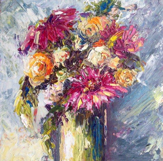 Nature morte peinture peinture à l'huile sur panneau - fleurs roses par Dam Domido