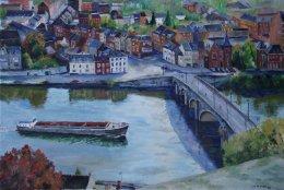 Vue plongeante sur le pont de Jambes ....  La derni�re r�alisation du peintre arpenteur des berges, Pierre Lemoine   ;)