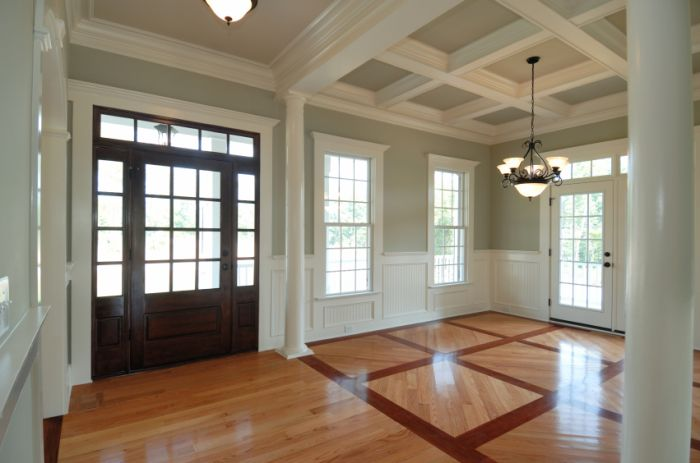 Foyer Ceiling Jobs : A beautiful foyer with coffered ceiling wainscotin