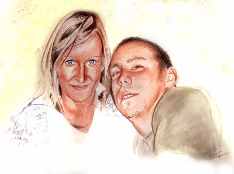 Couple aquarelle sur papier arche