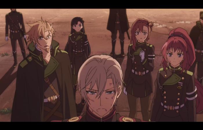 Shinya avec les membres de l'escouade de Guren