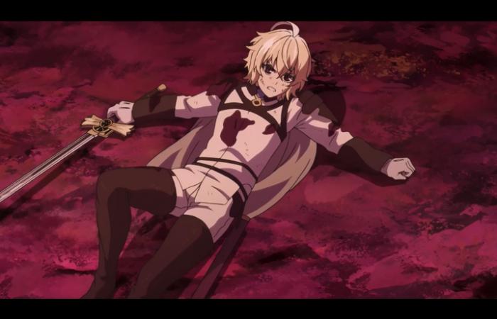 Mika par terre après s'être battu avec Guren