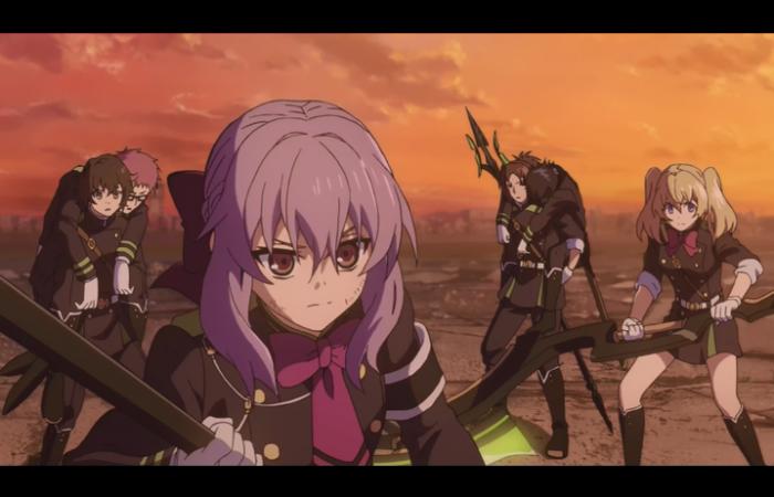 L'escouade de Shinoa avec Narumi (qui porte Yuu)