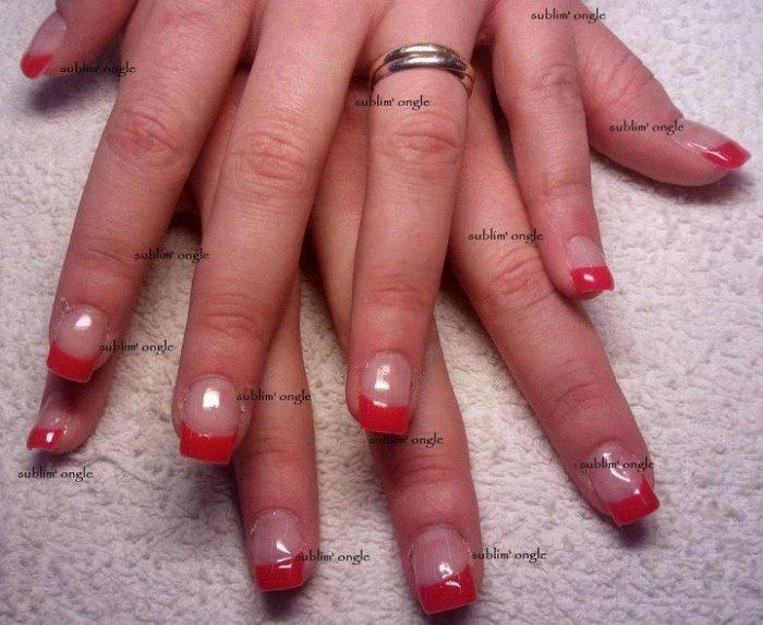 """pose complète gel french couleur rouge  avec les produits """" all season nails """" ."""
