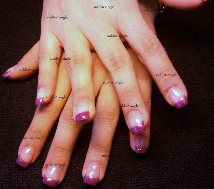"""pose complète gel french couleur violet  avec les produits """" all season nails """" ."""