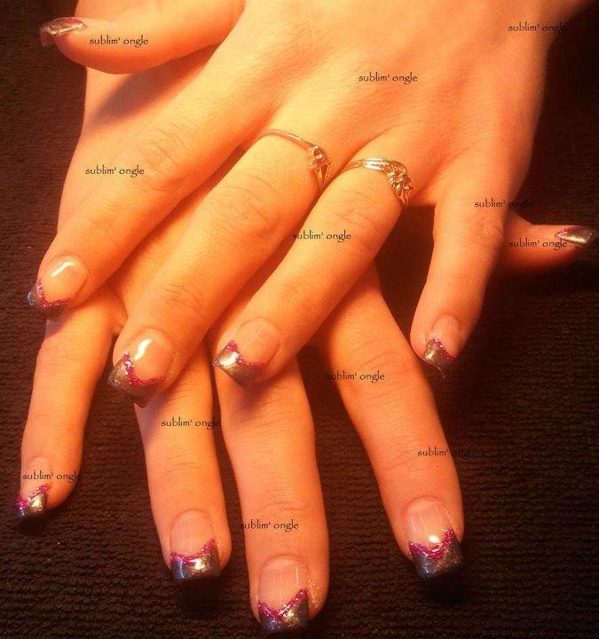 """pose complète gel avec les produits """" all saison nails """" , french vernis permanent gris """" nails and"""