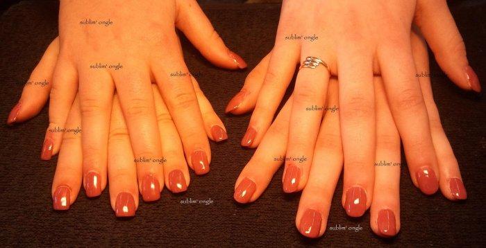 """Deux pose complète simple avec les produits """" all saison nails """" et pose de vernis marron """" O.P.I """""""