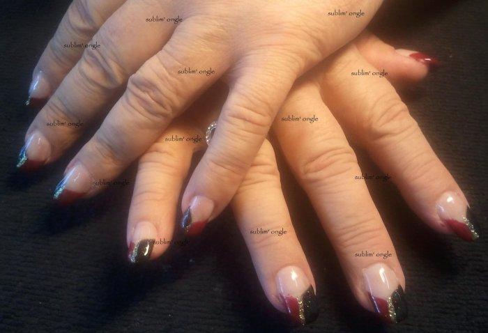 """remplissage gel avec les produits """" all saison nails """" french vernis permanent rouge et noir """" nails"""