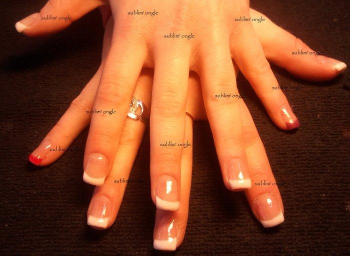"""pose complète gel french et couleur rouge et violet sur le petit doigt avec les produits """" all"""