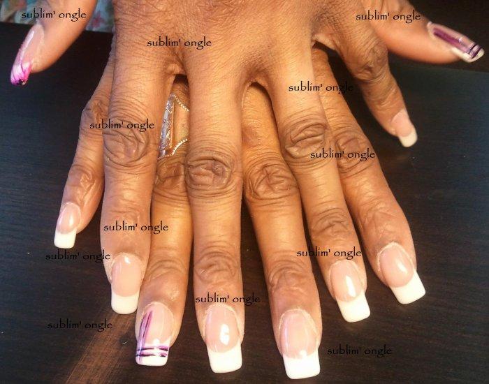 """Pose complète gel french avec les produits """" peggy sage """" et cnails """" , liner violet et rose """""""