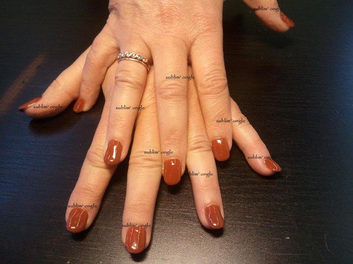 """pose complète simple avec les produits """" peggy sage """" et pose de vernis permanent marron """" nails and"""