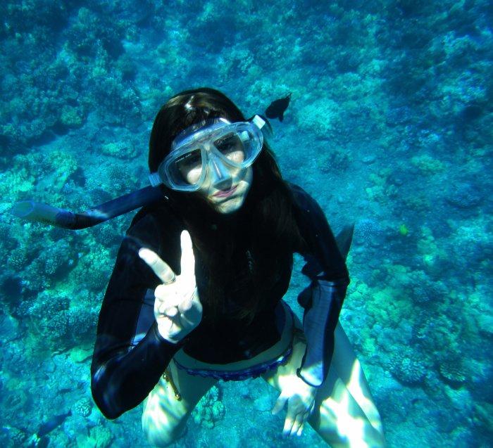 moi a hawaii en aout 2013 dans l'eau avec les poissons