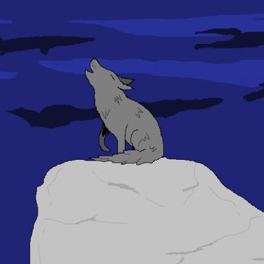 Loup fait sur paint a la souris (maison)