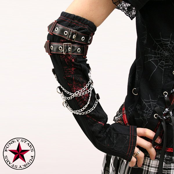 J PUNK ROCK Goth buckle+chain+spider web arm warmers J