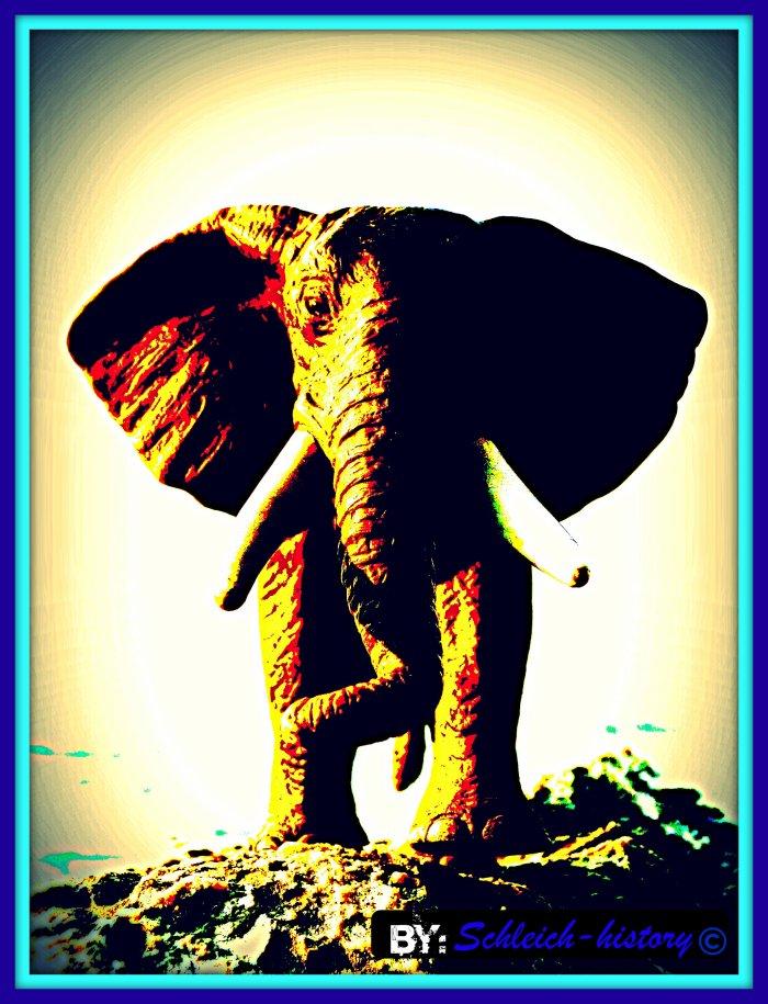 Un éléphant en avant de la montagne