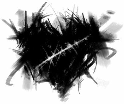 Coeur noir tranché.