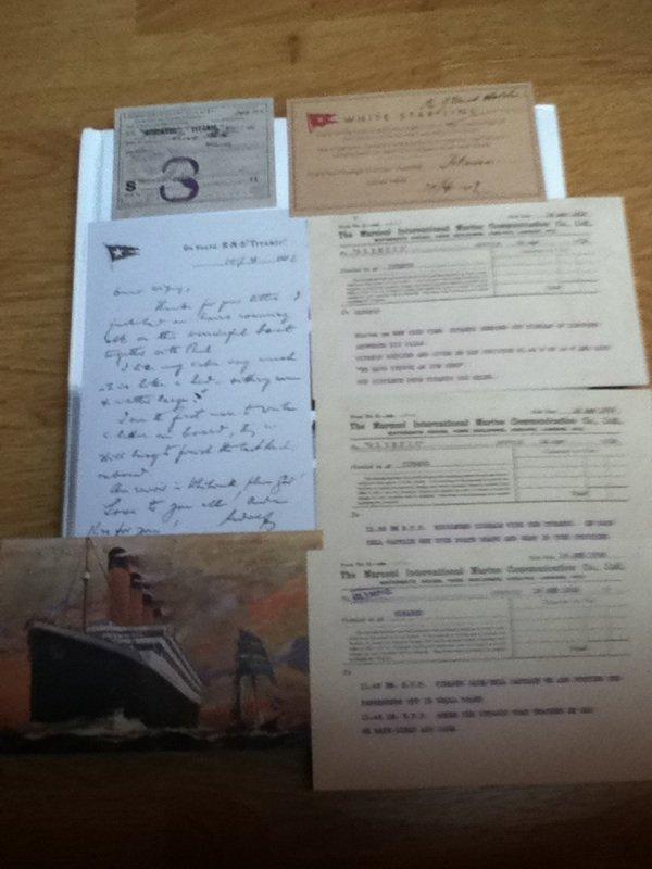 Quelques copies de documents ayant réelment existé pour le Titanic
