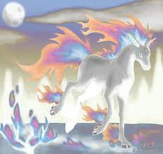 Galopa blanc avec les flammes bleu , orange et violet