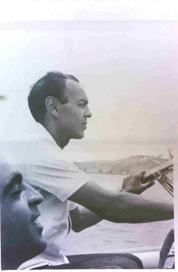 King Hassan II riding a boat with Abdeslam Bouziane