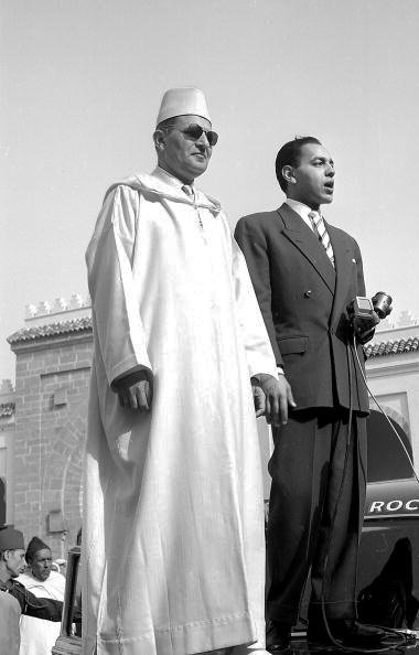 King Mohammed V and his son, crown prince Moulay el-Hassan