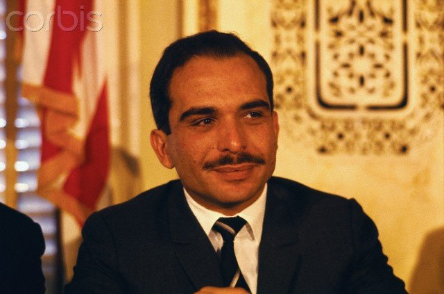 King Hussein, attending a press conference in the USA