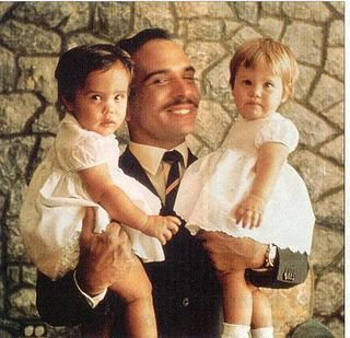 King Hussein, and his twin daughters from his second wife