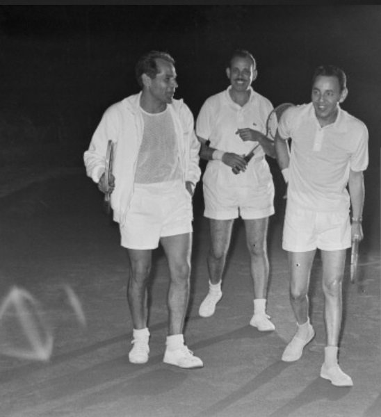 King Hassan II preparing to have a tennis match with friends