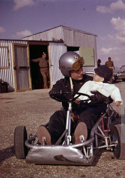 King Hussein taking his son prince Abdullah in his race car