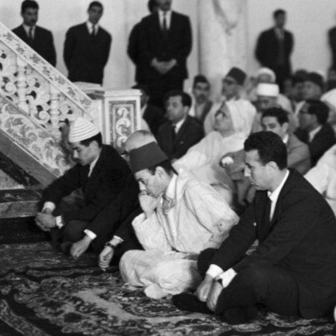 King Hassan II in a mosque in Algeria with ben Bella