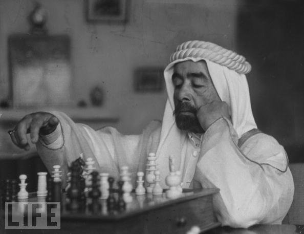 King Abdullah I playing chess