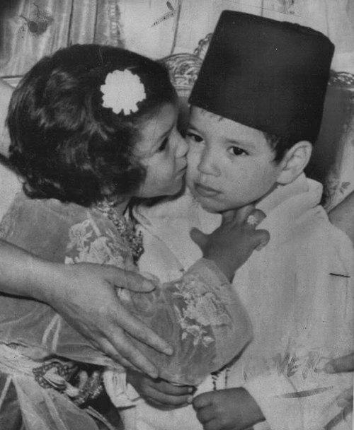 Young King Mohammed VI and his sister princess Lalla Meryem