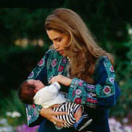 with her firstborn, crown prince Hussein.