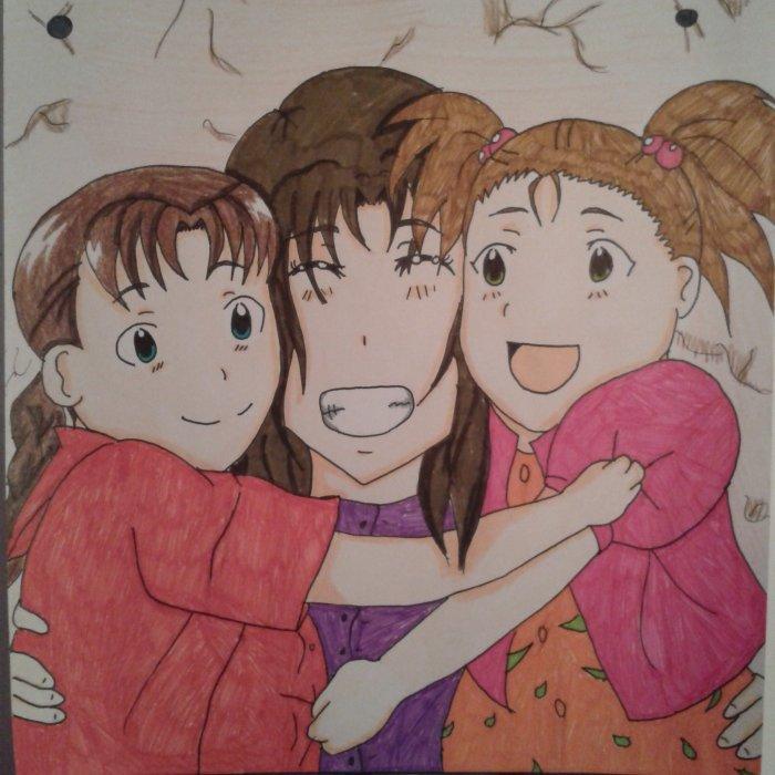 dessin de Nina , moi et Elicia