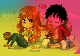 Nami et Luffy en chibi