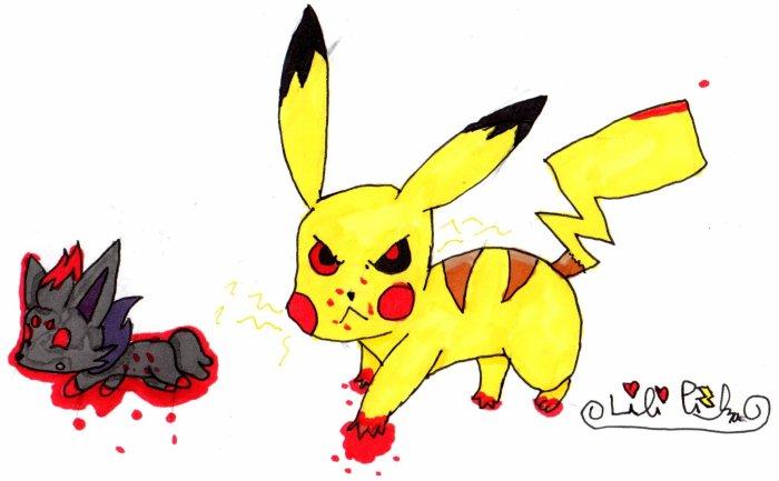 Dessin d'un Pikachu et d'un Zorua de moi.